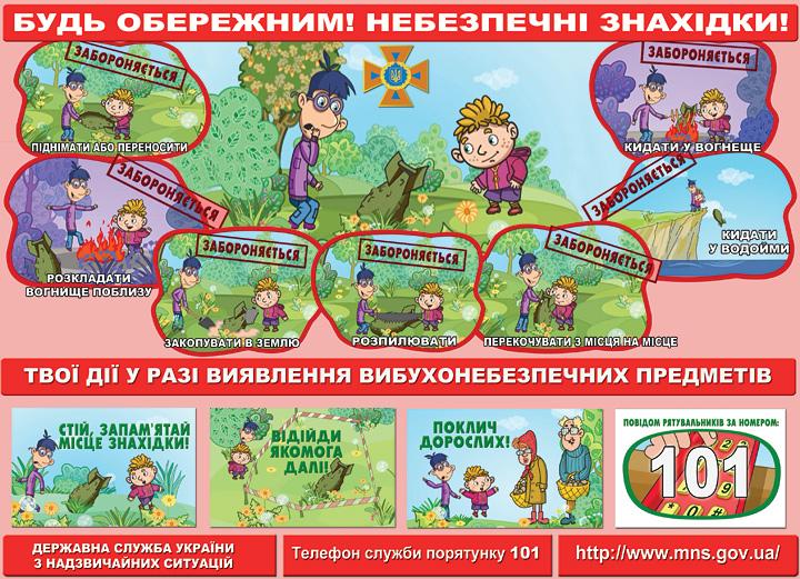 Пам'ятка для дітей: будь обережним! Небезпечні знахідки ...